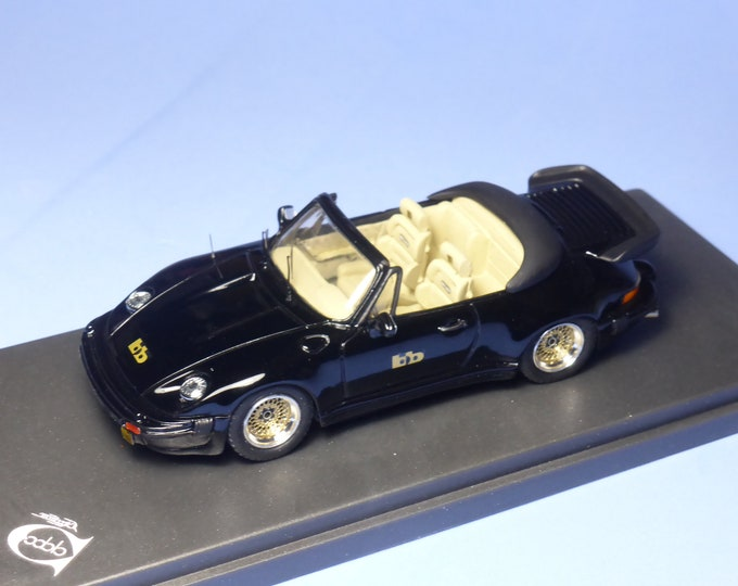 Porsche 911 Turbo Cabriolet Buchmann Special 1980 black with white interiors REMEMBER Models 1:43 - Factory built