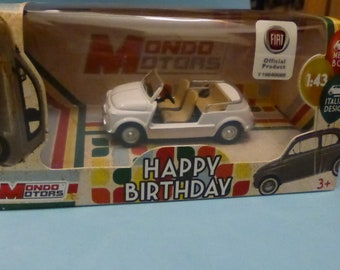 Ghia Fiat 500 Jolly beach car 60s white - Mondo Motors Happy Birthday range - Die cast model 1:43 - Brand new in box