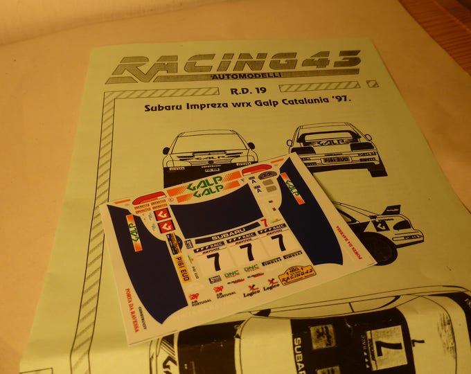 high quality 1:43 decals sheet for Subaru Impreza WRX Galp Rally Catalunya 1997 Madeira/Da Silva RACING43 RD19