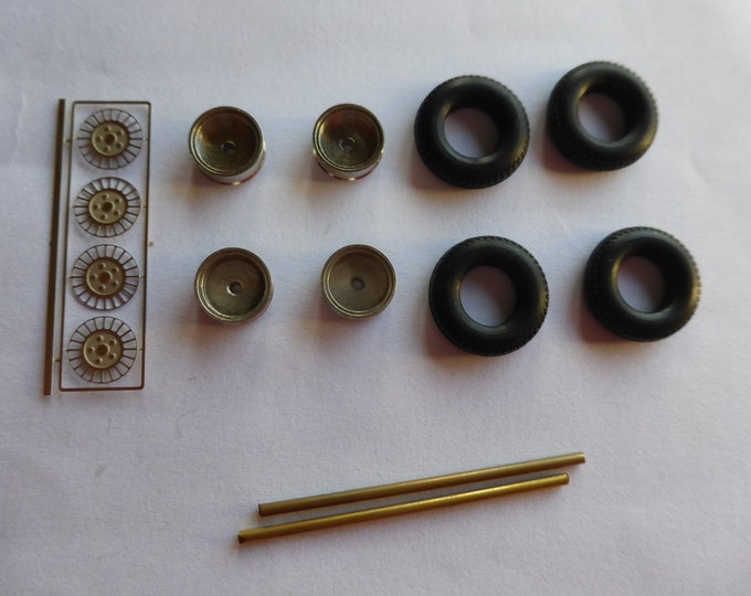 set of 1:43 wheels and tires for road cars Volvo, BMW, Saab, Mercedes etc / turned rim and rubber tires / Tin Wizard ZU0104-0