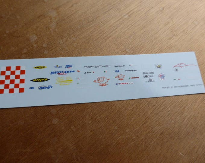 high quality 1:43 decals different logos Kayak, Bonucci Racing Team, Scuderia Aspas, etc