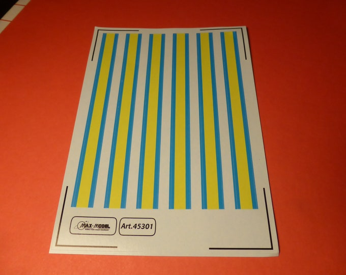 1:43 decals yellow/blue stripes for Misericordie Ambulanze (Italy) cars, trucks and other vehicles Max Model #45301