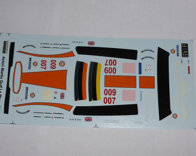 1:43 decals for Aston Martin DBR9 GT Gulf Le Mans 2008 #007/009 Provence Miniatures
