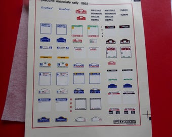 high quality 1:43 decals plaques for the 1993 World Rally Championship SARADECALS printing