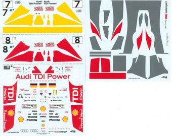high quality 1:24 decals sheet Audi R10 TDI Le Mans 2006 #7/8 Le Mans Miniatures DCA124083