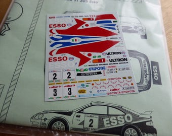 high quality 1:43 decals sheet for Toyota Celica ST205 ESSO Rally Lana / Rally Ciocco 1997 Aghini RACING43 RD04