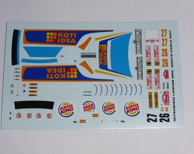 1:43 decals for Mitsubishi Lancer WRC Koti-Idea Rally Monte Carlo 2007 #26/27 (Pons or Gardemeister) Provence Miniatures