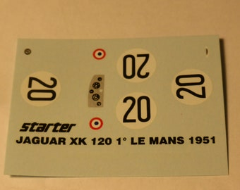 high quality 1:43 decals Jaguar XK120C Le Mans 1951 #20 winner Walker/Whitehead Starter decals