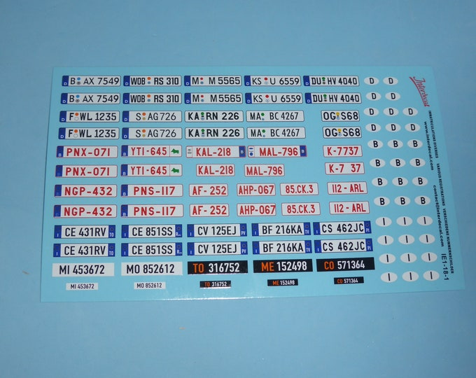 high quality 1:18 decals for registration plates Germany / Belgium / Italy plus international ovals Tin Wizard IE1-18-1