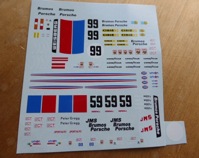 high quality 1:43 decals Porsche 935 IMSA Brumos 24h Daytona #99 + #59 versions logos Madyero by Remember TK01