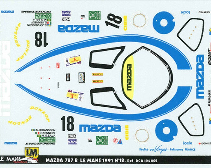 high quality 1:24 decals sheet Mazda 787B Le Mans 1991 #18 Le Mans Miniatures DCA124002