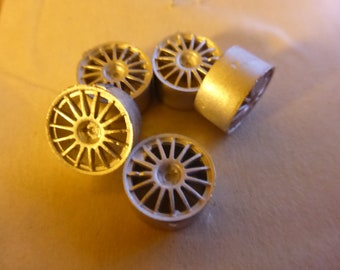 white metal 15-spokes 1:43  wheels for racing/rally cars etc. (pack of 5 pcs) Racing43 RA104