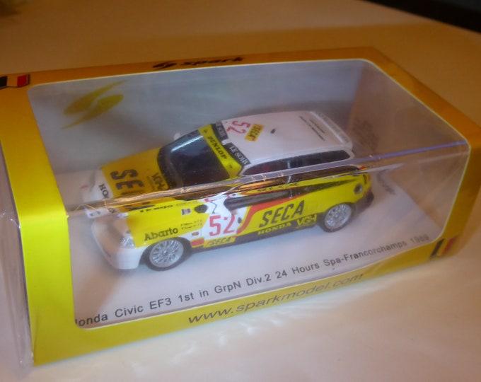 Honda Civic EF3 Gr.N Seca 24 hours Spa 1989 Tillekaerts/Koentges Spark SB136 still sealed 1:43