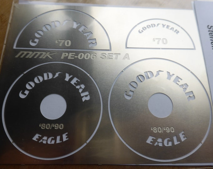 high quality 1:12 scale photoetched stencils Firestone Goodyear Eagle etc Edo3000v6 ED-008