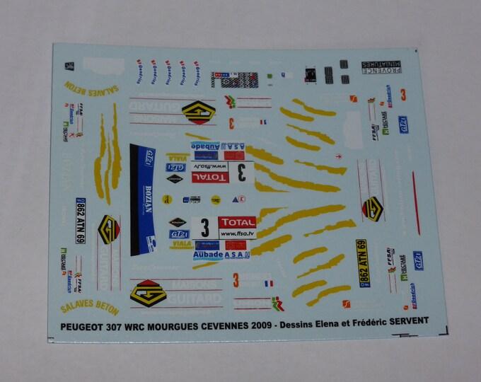 1:43 decals for Peugeot 307 WRC Cévennes 2009 #3 Mourgues/Giraudet Provence Miniatures
