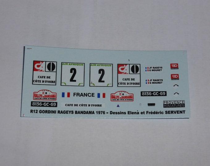 1:43 decals for Renault 12 Gordini Rallye Bandama 1976 #2 Rageys/Mouret Provence Miniatures