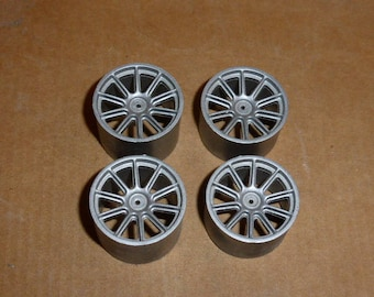 Set of 1:18 10-spokes wheels for racing and sport cars high definition (silver)