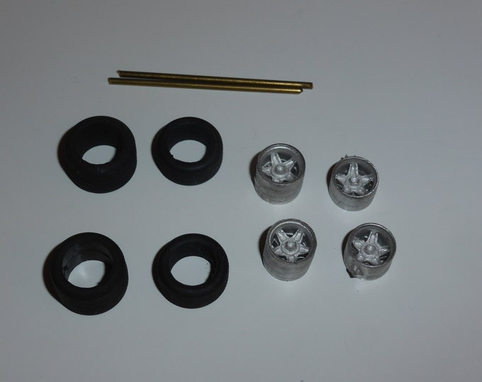 white metal 5-spoke wheels for Ferrari sport-prototypes of the 60s-70s and other racing cars Carrara Models 13 1:43