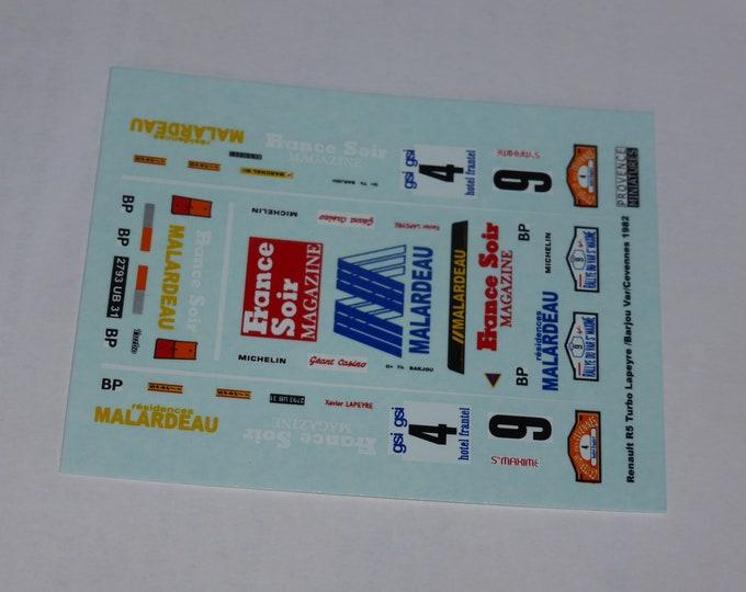 1:43 decals for Renault 5 Turbo France Soir-Malardeau Rallye du Var 1982 #4 / Cevennes 1982 #9 Provence Miniatures