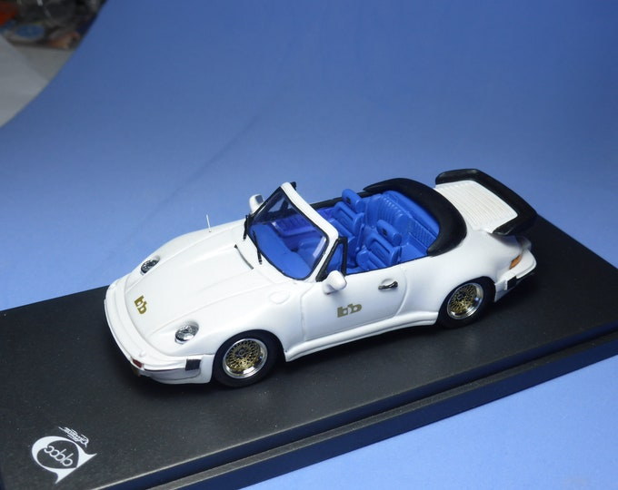 Porsche 911 Turbo Cabriolet Buchmann Special 1980 metallic white with blue interiors REMEMBER Models 1:43 - Factory built