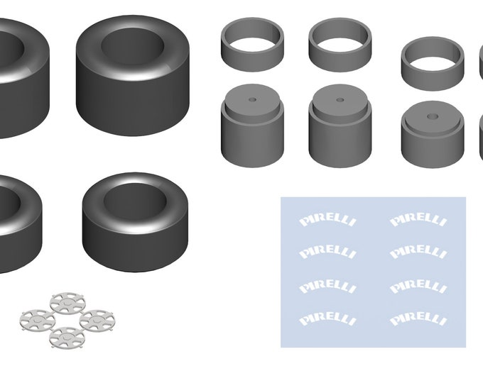high definition 6-spokes Dymag/OZ wheels set for modern Formula 1 cars with decals Tameo PWT07 1:43