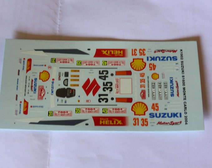 1:43 decals for Suzuki Swift Super 1600 Rally Monte Carlo 2004 #31 / #35 / #45 Provence Miniatures