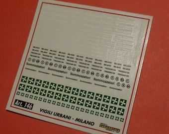 high quality 1:43 decals Polizia Municipale / Vigili Urbani Milano Saradecals printing #146