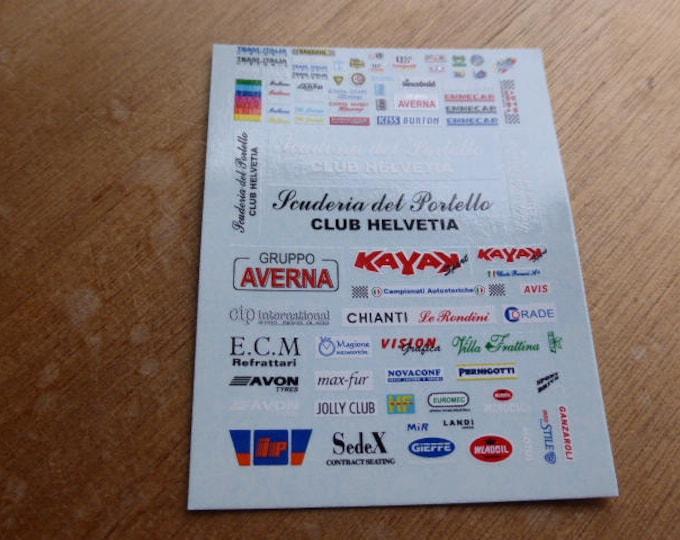 high quality 1:43 decals different logos Scuderia Biondetti, Tampolli, Giglio Corse, Team Italia, Piloti Fiorentini, Portello, Giani etc