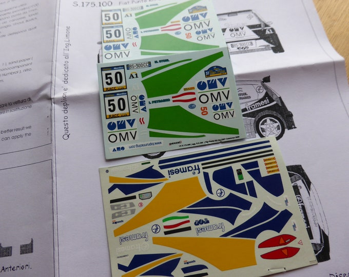 high quality 1:43 decals sheet for Fiat Punto Kit Car OMV Rally Catalunya 2001 Stohl RACING43 S175.100