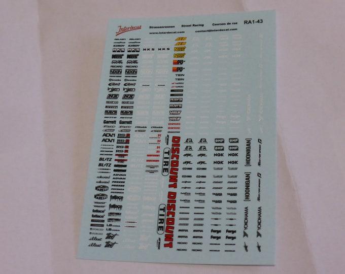 decals for racing, tuning, street racing etc. rare logos 1:43 scale Tin Wizard RA1-43