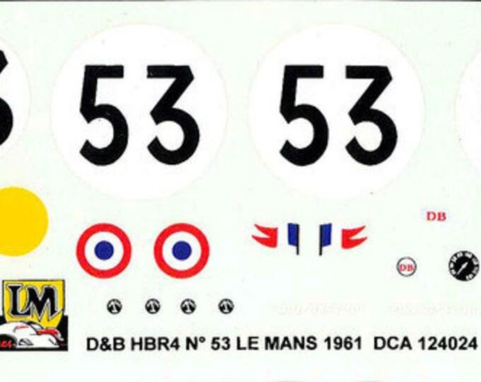 high quality 1:24 decals sheet Deutsch & Bonnet HBR4 Le Mans 1961 #53 Le Mans Miniatures DCA124024