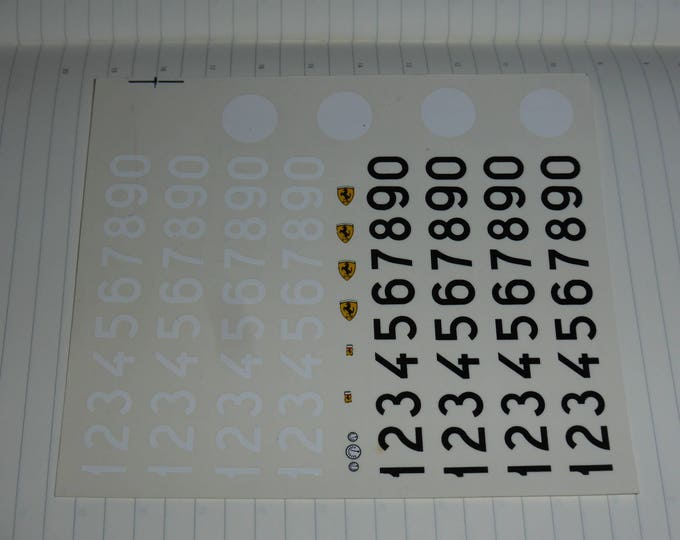 1:43 decals black and white racing numbers for 50s/60s cars, Ferrari emblems and white roundels Remember TK201