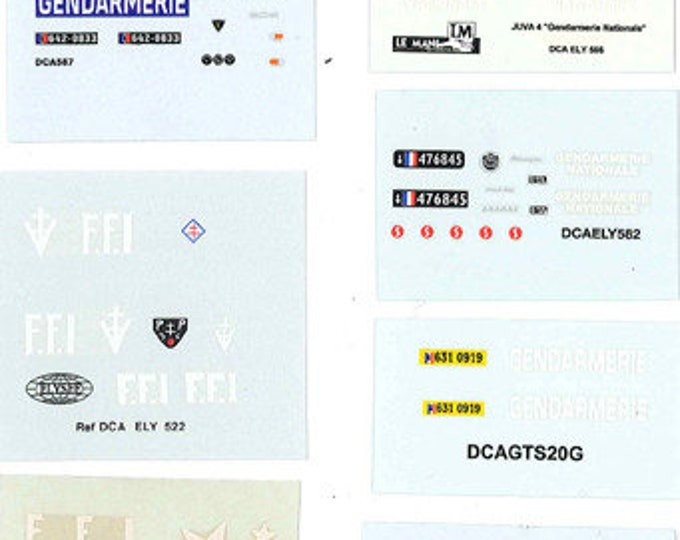 decals sheet various French Gendarmerie and Fire Dept 1:43 scale Le Mans Miniatures DCAPOL999