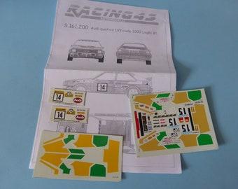 high quality 1:43 decals sheet for Audi Quattro BP Tour de Corse / 1000 Lakes 1981 Mouton/Pons RACING43 S161.200