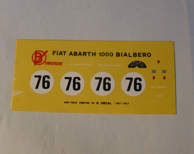 high quality 1:43 decals for Fiat Abarth 1000 Bialbero 6h Auvergne 1961 #76 Jean Guichet Cartograf for Barnini