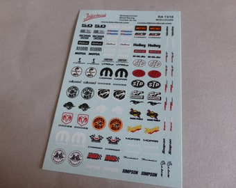 decals for racing, tuning rare logos muscle cars Mustang, Dodge, Mopar, STP, Boss, Hemi, Simpson etc 1:18 scale Interdecal RA13-18