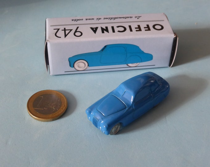 Fiat 1100 S Mille Miglia-type 1947 in light blue Officina942 new vintage small diecast model in 1:76 (00) scale new in box #1003B