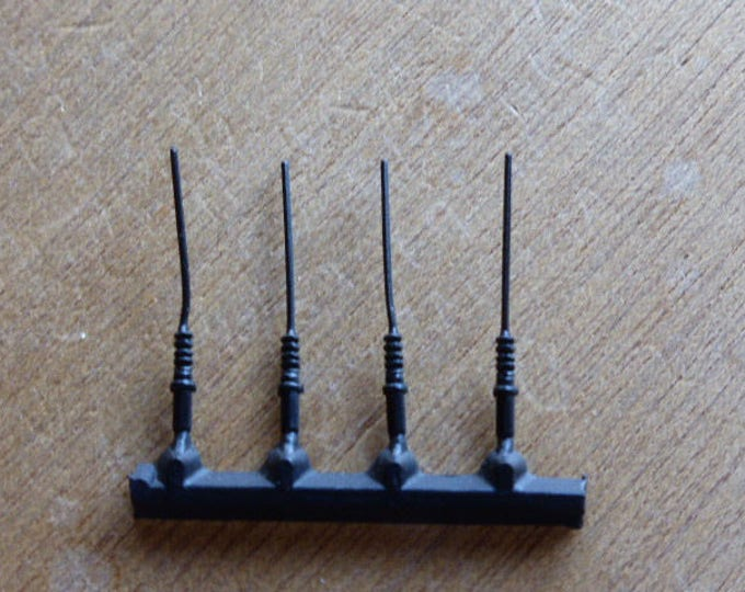 Pack of 4 high quality 1:43 plastic antennas 90 degrees for modern and vintage model cars