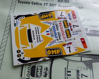 high quality 1:43 decals sheet for Toyota Celica ST205 Rally Argentina 1997 Auriol/Giraudet RACING43 RD05
