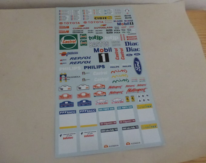 1/24 and 1/32 decals sheet for rally cars Castrol, Totip, Diac, Toyota, Plaques, Bastos, etc MM-DE03