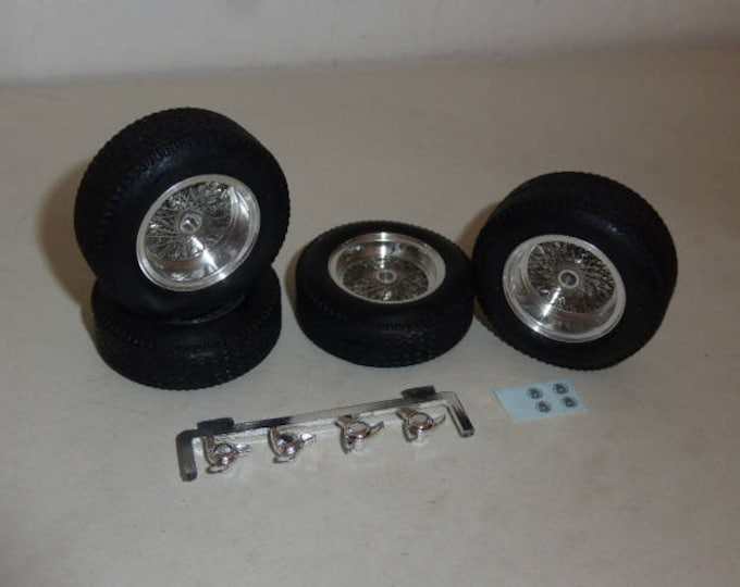 Borrani turned and photoetched wire wheels + tires for Ferrari 250 GTO etc 1:18 REMEMBER W34