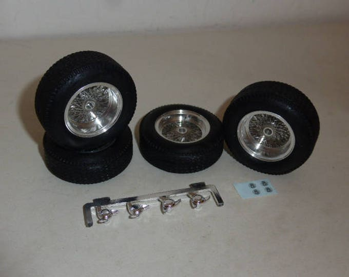 Borrani turned and photoetched wire wheels + tires for Ferrari 250 GTO etc 1:18 REMEMBER W34B (including spare tire+wheel)