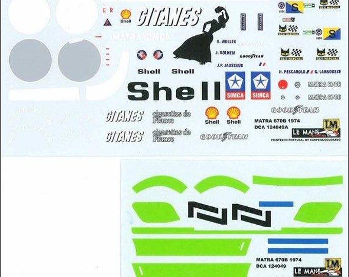 high quality 1:24 decals sheet Matra Simca MS670B Le Mans 1974 #7 Le Mans Miniatures DCA124050