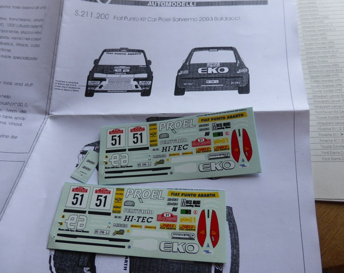 high quality 1:43 decals sheet for Fiat Punto Kit Car Proel Rally Sanremo 2003 Baldacci RACING43 S211.200