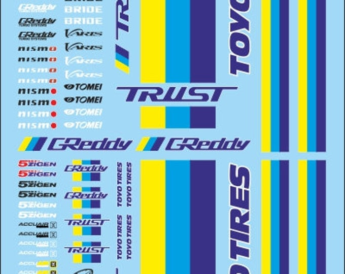 high quality decals sheet with 1:24 logos for street racing, drift and racing cars Tin Wizard RA24-24