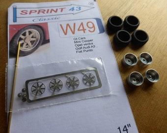 """top quality multispokes 14"""" wheels for GT cars, Mini Cooper, Punto, Audi A3, Golf, Vectra etc Sprint43 W49 1:43"""