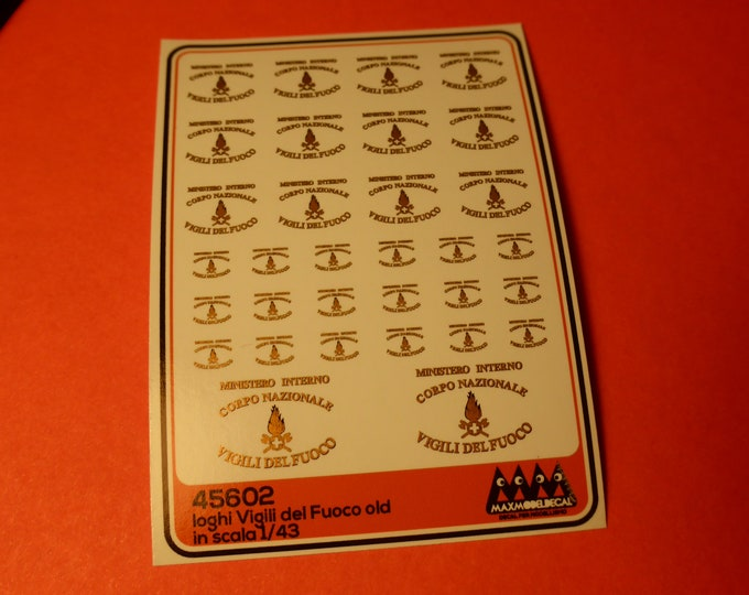 1:43 decals for Vigili del Fuoco (Italy) cars, trucks and other vehicles (old emblems) Max Model #45602