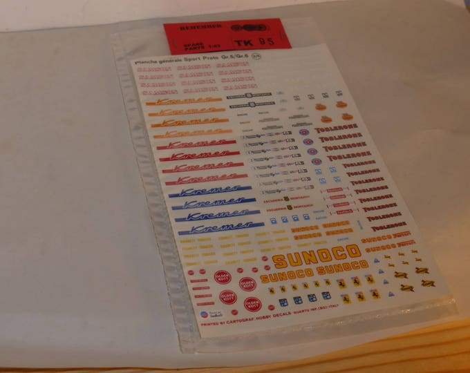high quality 1:43 decals Gr.5 and Gr.6 cars Kremer/Toblerone/Sunoco/Samson/NART/E.Montjuich etc Cartograf AMR (Remember TK95)