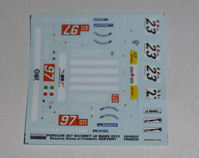 1:43 decals for Porsche 911 (997) GT3 RSR BMS-Scuderia Italia Le Mans and Spa 24h 2010 Provence Miniatures
