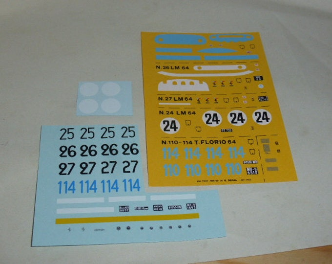 high quality decals Ferrari 250 GTO 64 Le Mans 1964 #24/25/26/27 Targa Florio '64 #110/114 1:43 Remember TK66